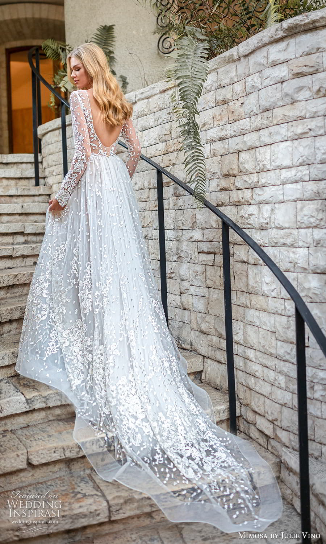mimosa julie vino 2021 bridal sheer long sleeve jewel neckline embellished lace a line ball gown wedding dress chapel train low back (1) bv