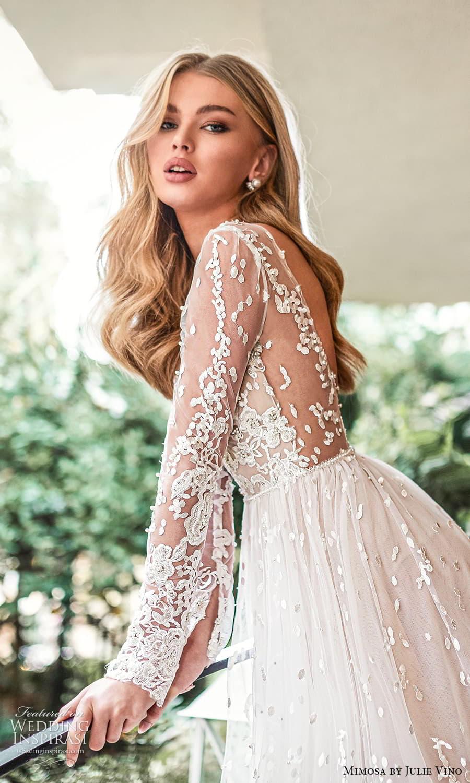 mimosa julie vino 2021 bridal sheer long sleeve jewel neckline embellished lace a line ball gown wedding dress chapel train low back (1) sv