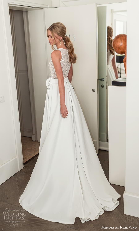 mimosa julie vino 2021 bridal sleeveless jewelneckline embellished bodice clean skirt a line wedding dress chapel train (10) bv