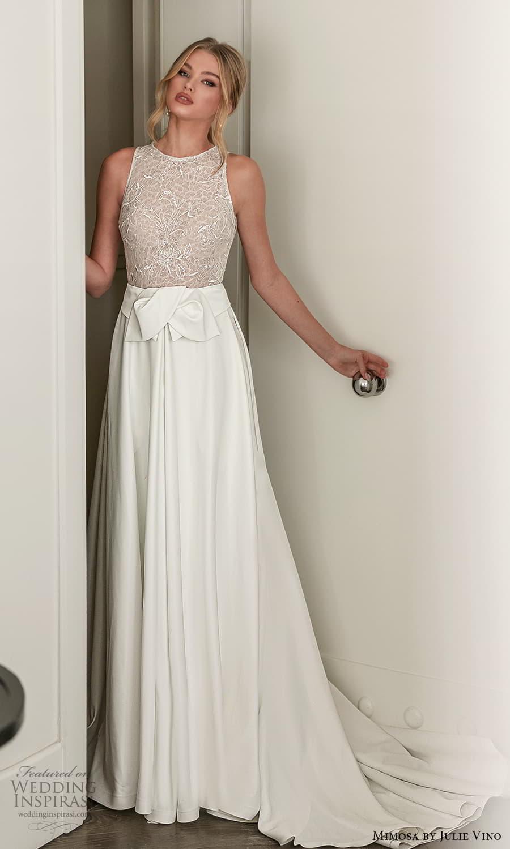 mimosa julie vino 2021 bridal sleeveless jewelneckline embellished bodice clean skirt a line wedding dress chapel train (10) mv