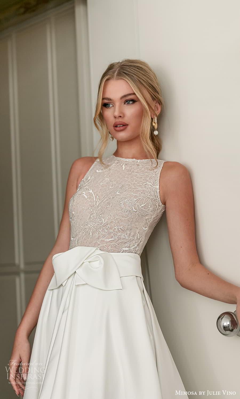 mimosa julie vino 2021 bridal sleeveless jewelneckline embellished bodice clean skirt a line wedding dress chapel train (10) zv
