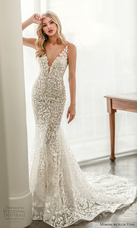 mimosa julie vino 2021 bridal sleeveless straps v neckline fully embellished sheath wedding dress chapel train (3) mv