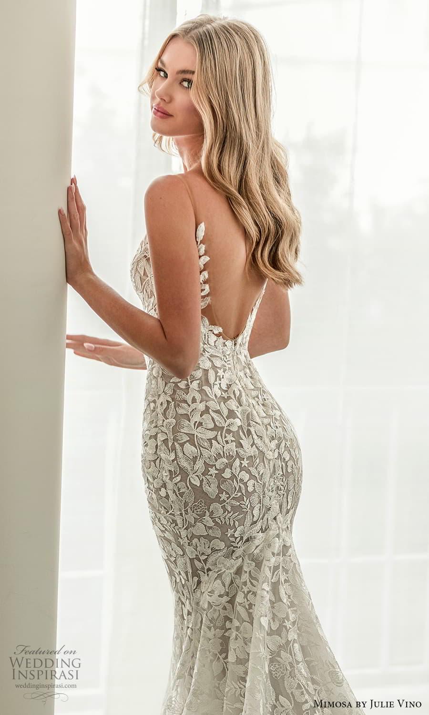 mimosa julie vino 2021 bridal sleeveless straps v neckline fully embellished sheath wedding dress chapel train (3) zbv