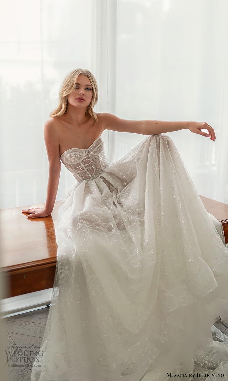 mimosa julie vino 2021 bridal strapless semi sweetheart neckline fully embellished a line ball gown wedding dress chapel train (5) mv