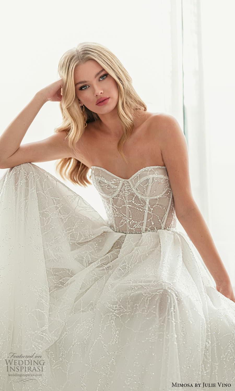 mimosa julie vino 2021 bridal strapless semi sweetheart neckline fully embellished a line ball gown wedding dress chapel train (5) zv