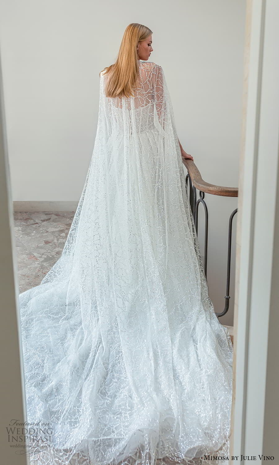 mimosa julie vino 2021 bridal strapless semi sweetheart neckline fully embellished a line ball gown wedding dress chapel train cape (5) bv