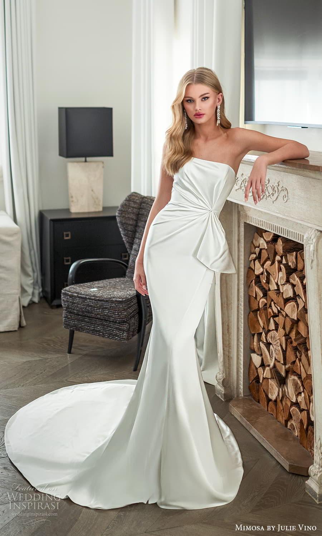 mimosa julie vino 2021 bridal strapless straight across neckline clean minimalist sheath wedding dress chapel train (9) mv