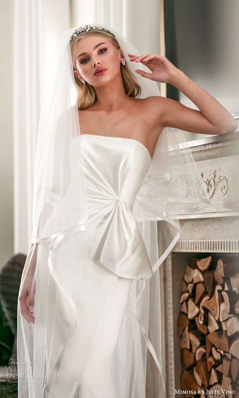 mimosa julie vino 2021 bridal strapless straight across neckline clean minimalist sheath wedding dress chapel train veil (9) zv