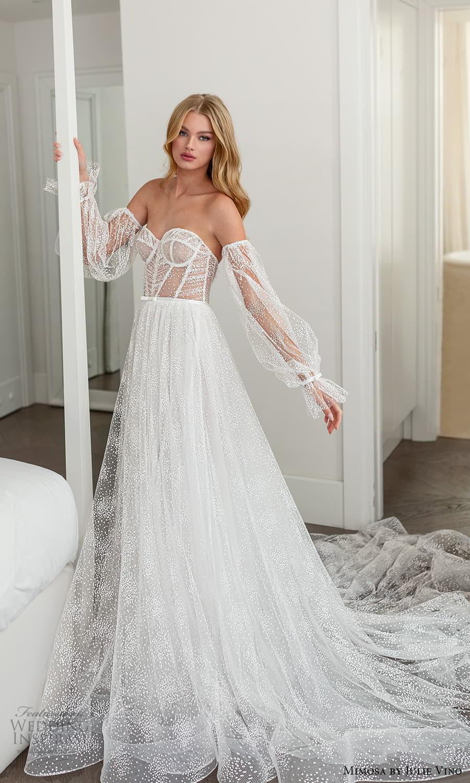 mimosa julie vino 2021 bridal strapless sweetheart neckline a line ball gown wedding dress detached balloon sleeves (6) mv