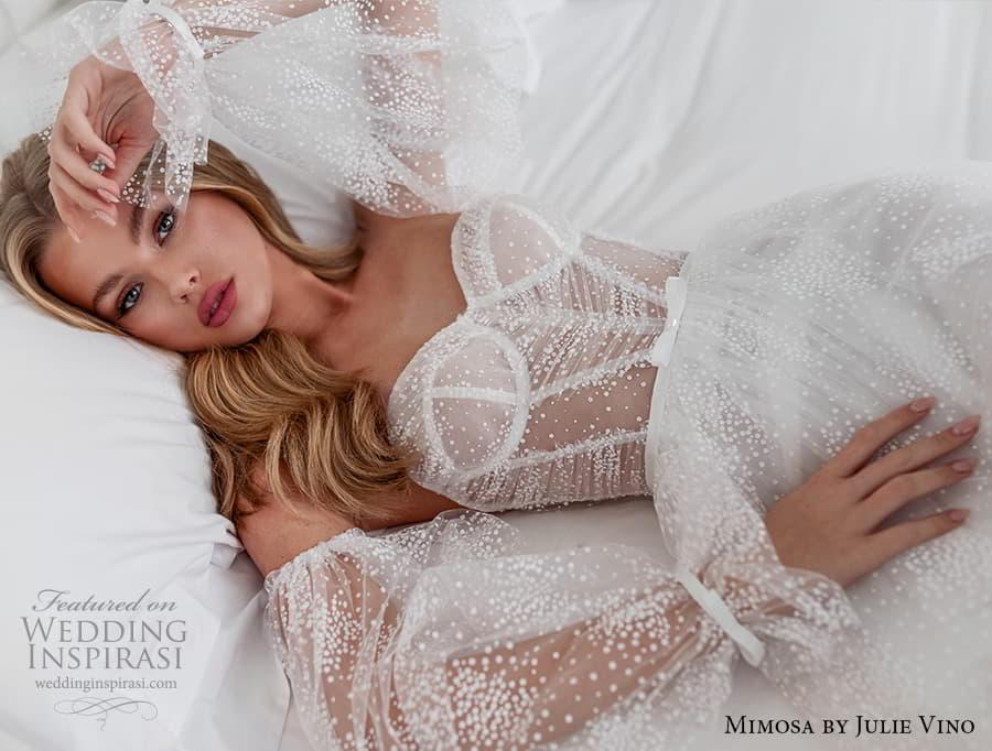 mimosa julie vino 2021 bridal strapless sweetheart neckline a line ball gown wedding dress detached balloon sleeves (6) zv