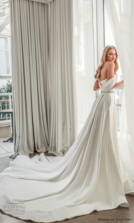 mimosa julie vino 2021 bridal strapless sweetheart neckline embellished bodice waist clean minimalist a line wedding dress chapel train (2) bv