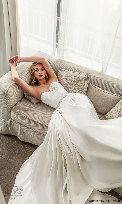 mimosa julie vino 2021 bridal strapless sweetheart neckline embellished bodice waist clean minimalist a line wedding dress chapel train (2) mv
