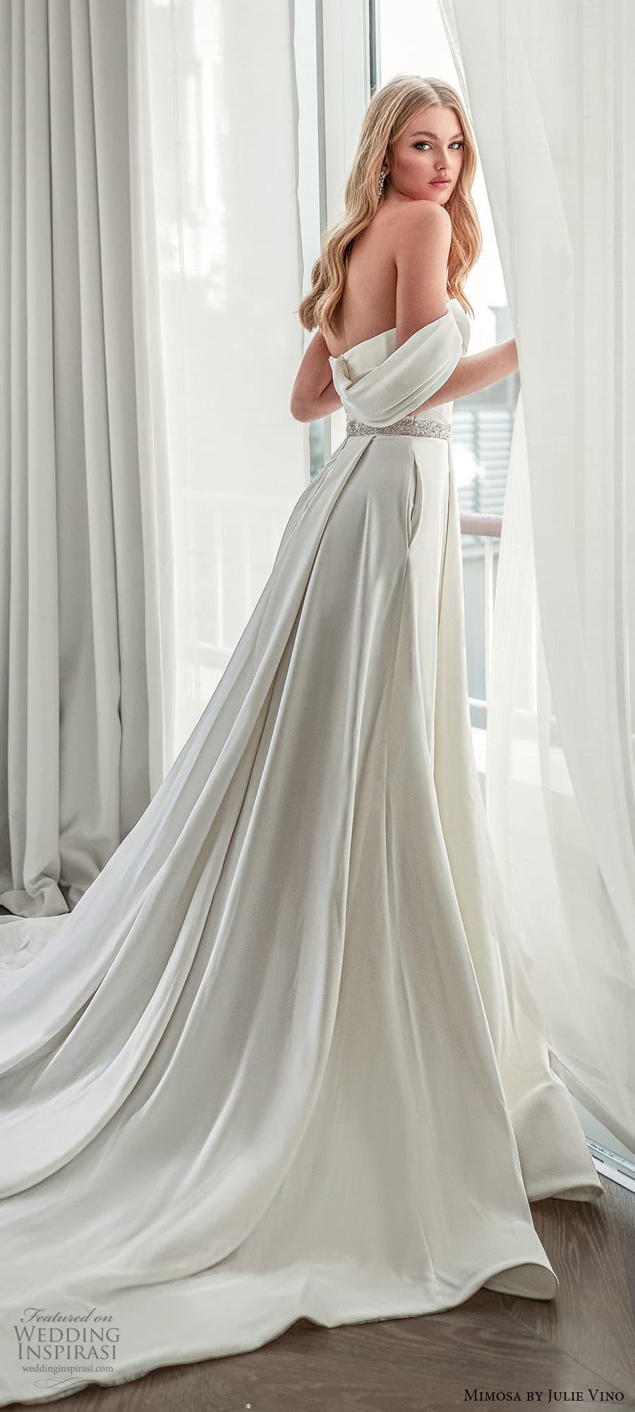 mimosa julie vino 2021 bridal strapless sweetheart neckline embellished bodice waist clean minimalist a line wedding dress chapel train (2) sv