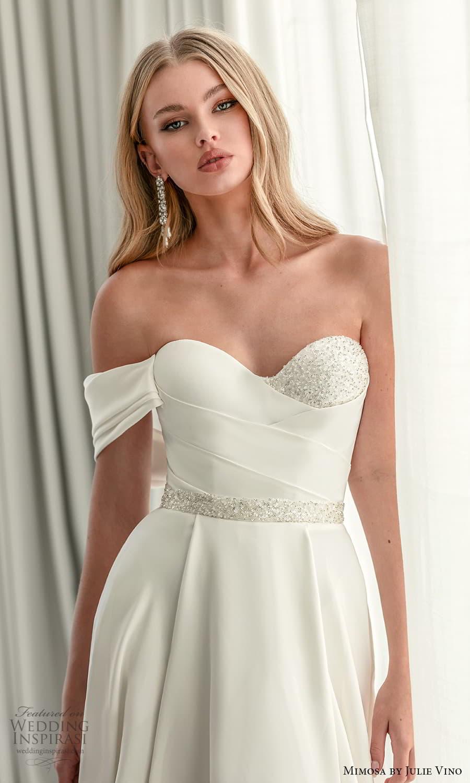 mimosa julie vino 2021 bridal strapless sweetheart neckline embellished bodice waist clean minimalist a line wedding dress chapel train (2) zv