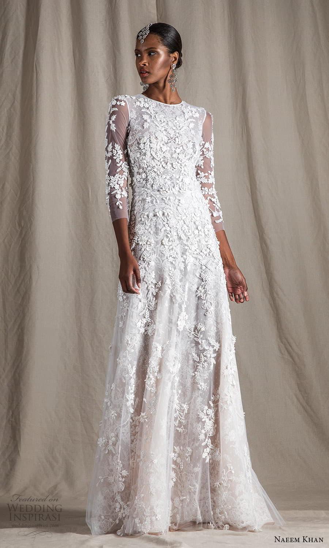 naeem khan spring 2022 bridal 3 quarter sleeves jewel neckline fully embellished a line wedding dress (16) mv