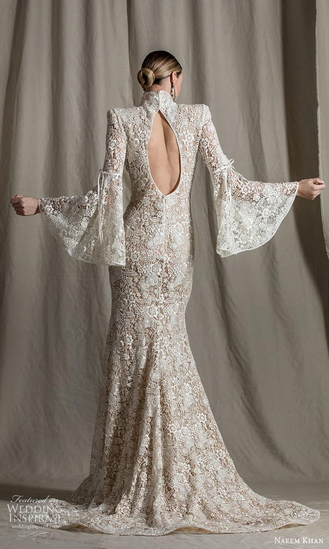 naeem khan spring 2022 bridal long flare sleeves high neckline cutout bodice fully embellished lace fit flare sheath wedding dress chapel train (2) bv