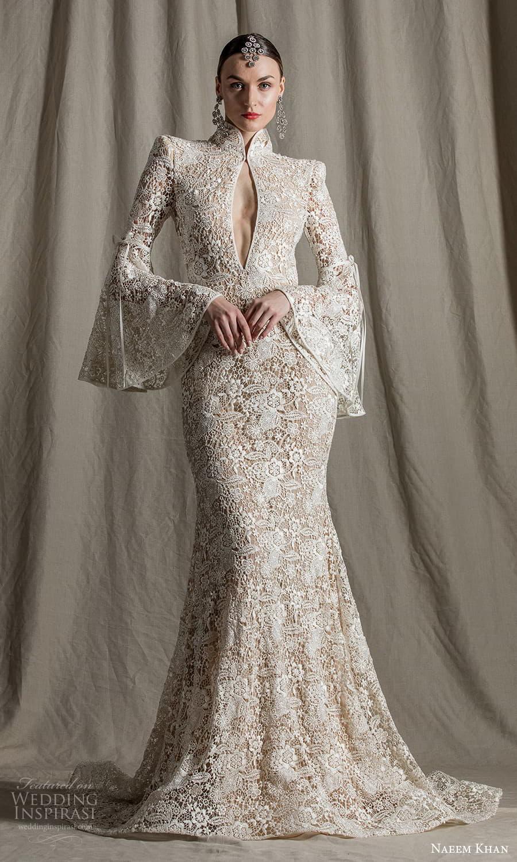 naeem khan spring 2022 bridal long flare sleeves high neckline cutout bodice fully embellished lace fit flare sheath wedding dress chapel train (2) mv