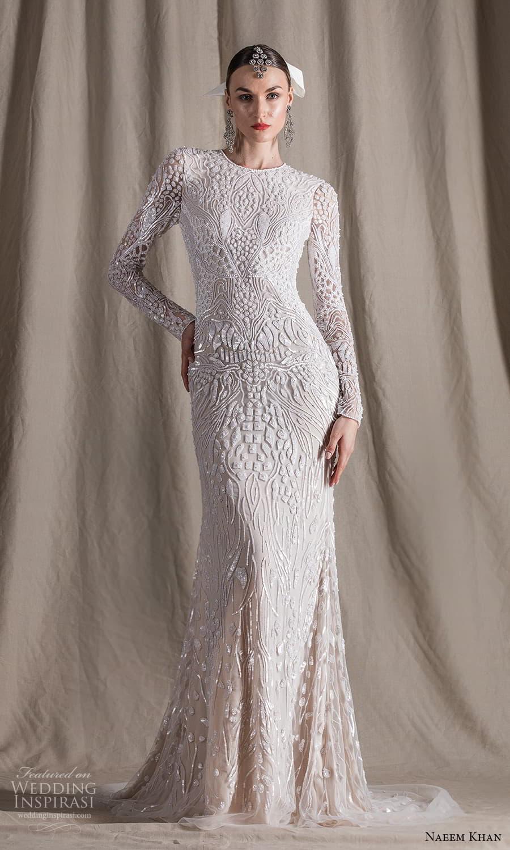 naeem khan spring 2022 bridal long sleeve jewel neckline fully embellished sheath wedding dress chapel train (15) mv