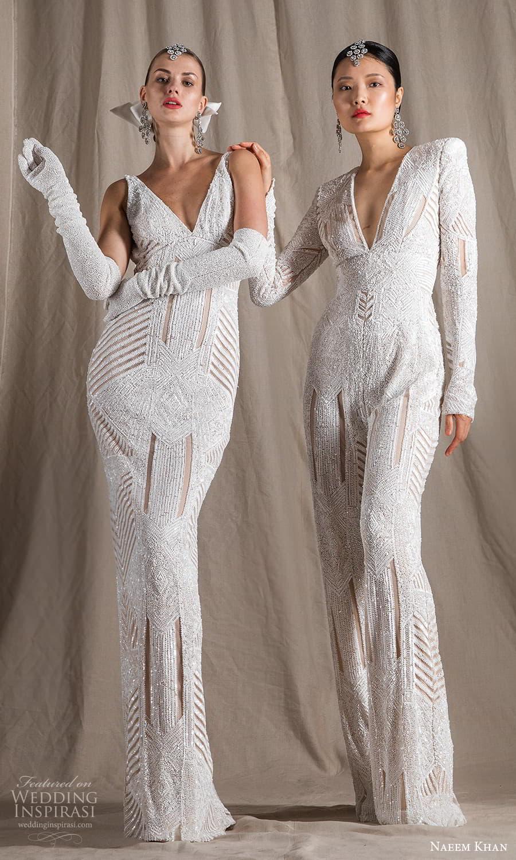naeem khan spring 2022 bridal long sleeve sleeveless straps v neckline fully embellished sheath wedding dress sweep train (11) mv