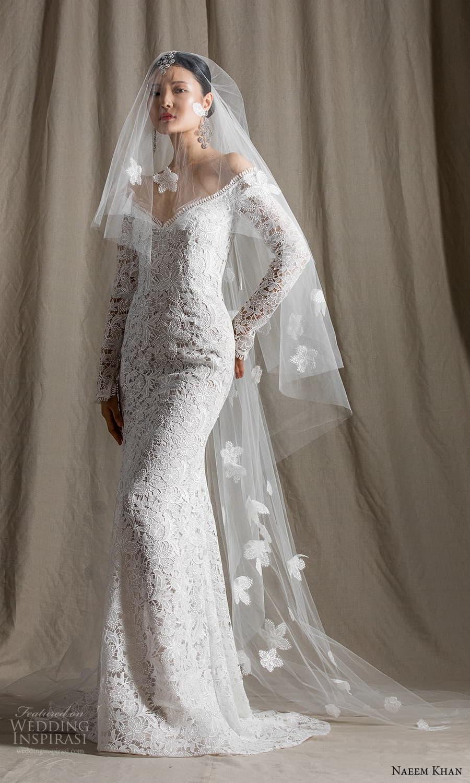 naeem khan spring 2022 bridal long sleeves off shoulder neckline embellished sheath wedding dress chapel train (8) mv