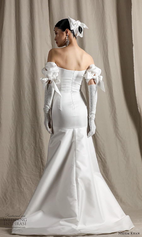naeem khan spring 2022 bridal off shoulder puff sleeve straight across neckline clean minimalist fit flare mermaid wedding dress chapel train (4) bv
