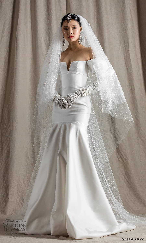 naeem khan spring 2022 bridal off shoulder puff sleeve straight across neckline clean minimalist fit flare mermaid wedding dress chapel train (4) mv