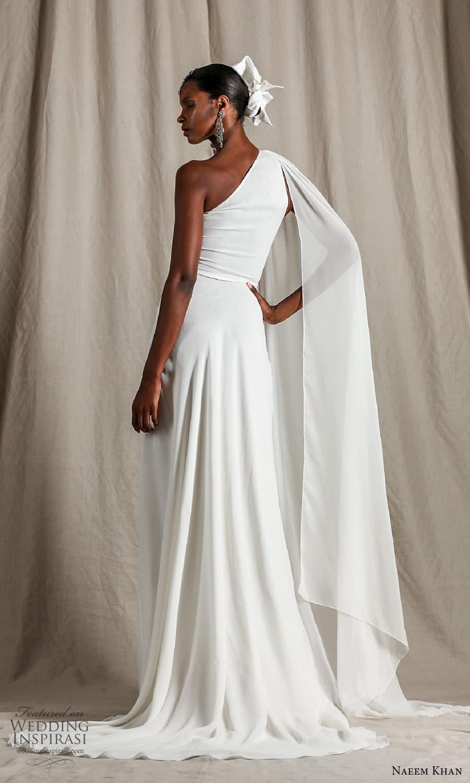 naeem khan spring 2022 bridal one shoulder sleeve asymmetric neckline clean minimalist jumpsuit wedding dress pants suit (3) bv