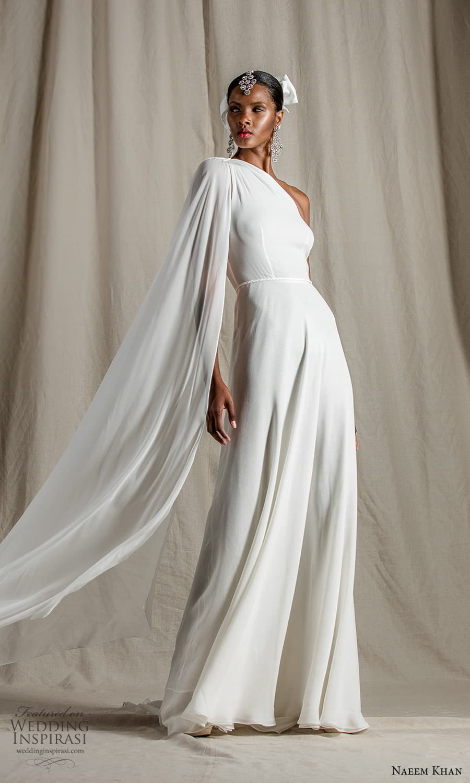 naeem khan spring 2022 bridal one shoulder sleeve asymmetric neckline clean minimalist jumpsuit wedding dress pants suit (3) mv