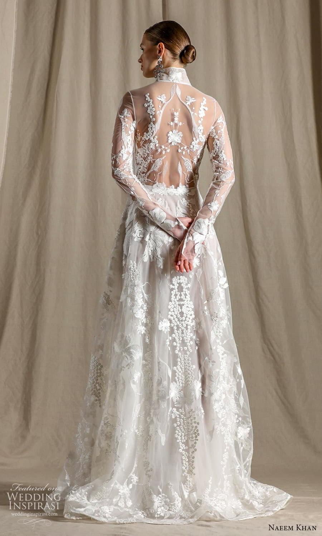 naeem khan spring 2022 bridal sheer long sleeve high neckline embellished a line wedding dress chapel train (6) bv
