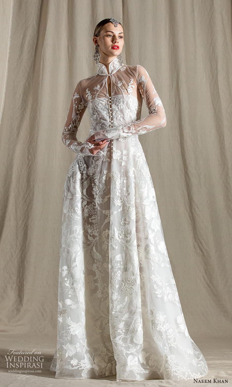 naeem khan spring 2022 bridal sheer long sleeve high neckline embellished a line wedding dress chapel train (6) mv