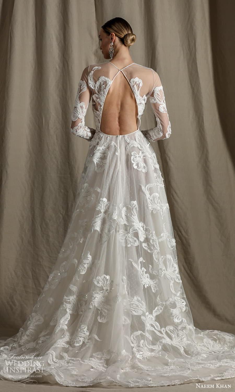 naeem khan spring 2022 bridal sheer long sleeve jewel neckline fully embellished a line ball gown wedding dress chapel train veil (1) bv