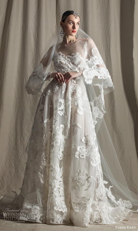 naeem khan spring 2022 bridal sheer long sleeve jewel neckline fully embellished a line ball gown wedding dress chapel train veil (1) mv