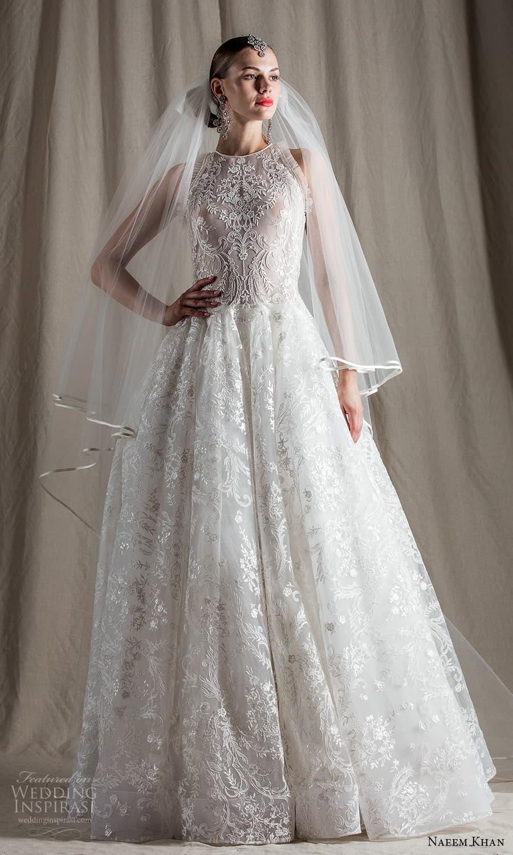 naeem khan spring 2022 bridal sleeveless halter neckline embellished lace a line ball gown wedding dress chapel train (9) mv