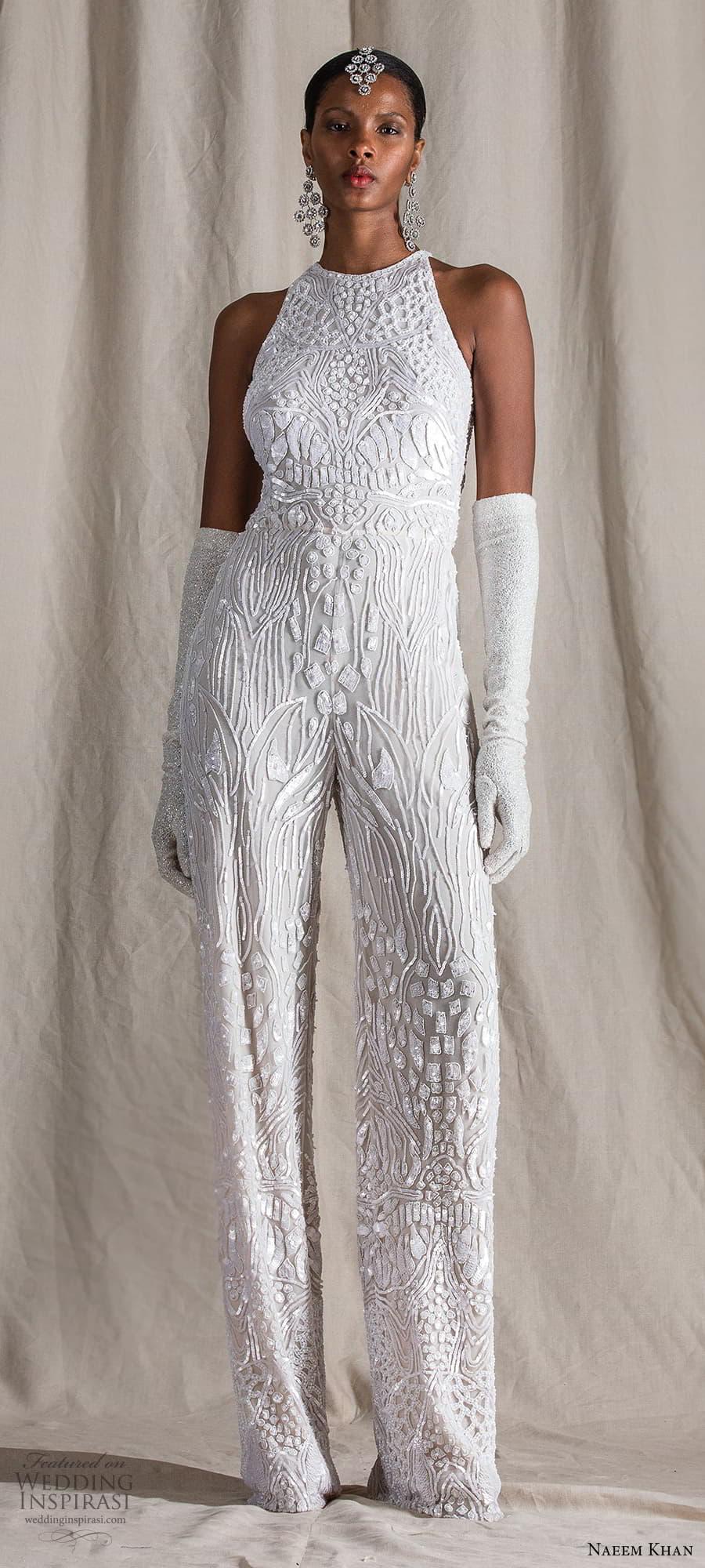 naeem khan spring 2022 bridal sleeveless halter neckline fully embellished jumpsuit wedding dres pants (12) mv