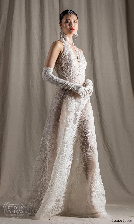 naeem khan spring 2022 bridal sleeveless plunging split high neckline embellished a line wedding dress chapel train (13) mv