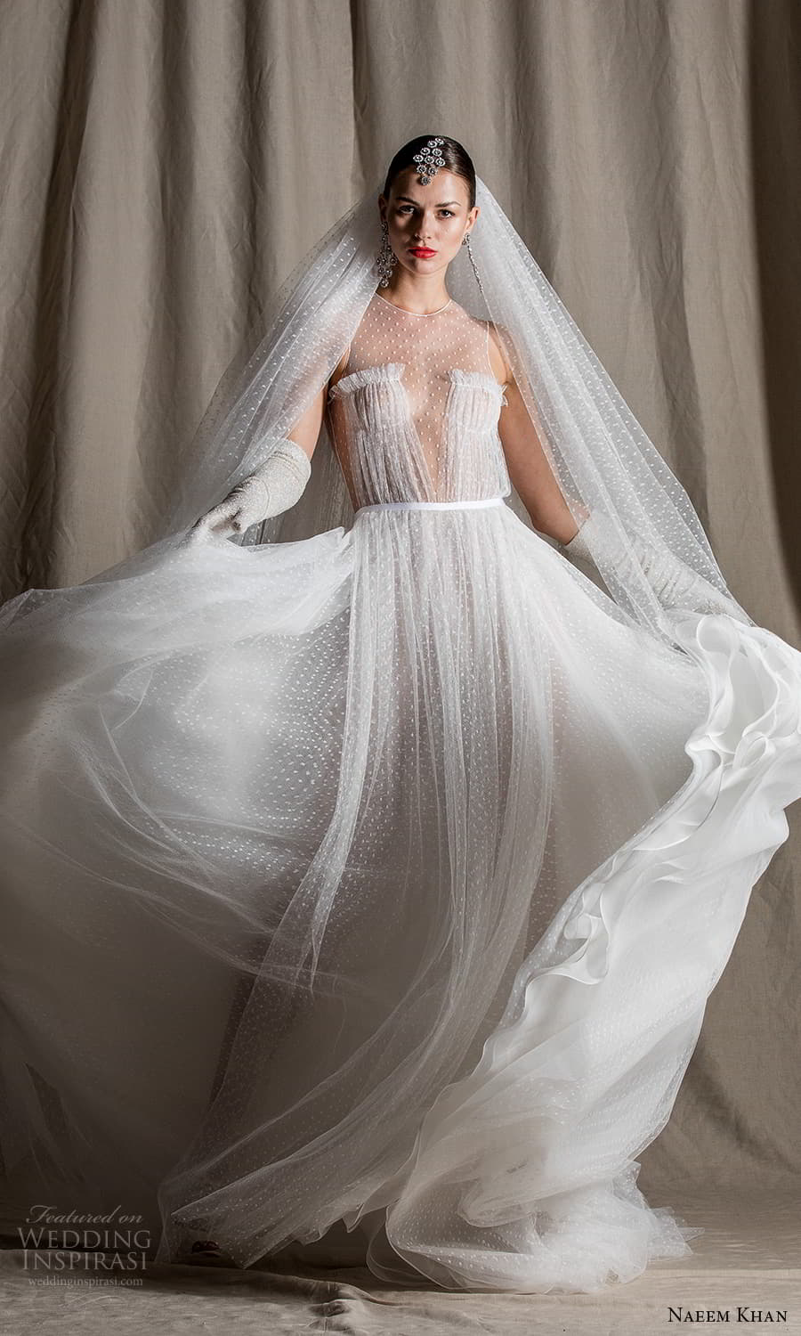 naeem khan spring 2022 bridal sleeveless sheer thick straps jewel neckline ruched bodice tulle a line ball gown wedding dress chapel train (5) mv
