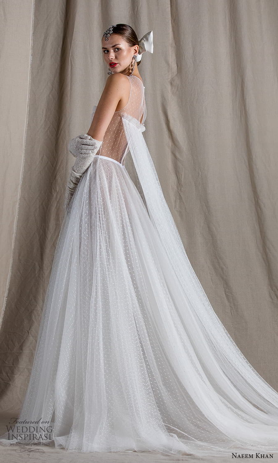 naeem khan spring 2022 bridal sleeveless sheer thick straps jewel neckline ruched bodice tulle a line ball gown wedding dress chapel train (5) sv