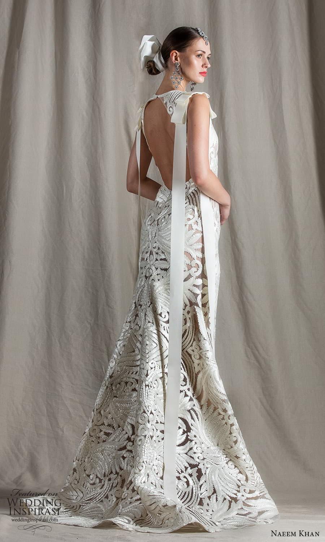 naeem khan spring 2022 bridal sleeveless straps jewel neckline fully embellished sheath wedding dress chapel train (10) bv