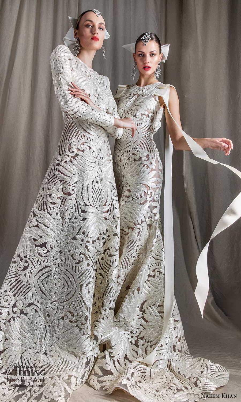 naeem khan spring 2022 bridal sleeveless straps jewel neckline fully embellished sheath wedding dress chapel train (10) mv
