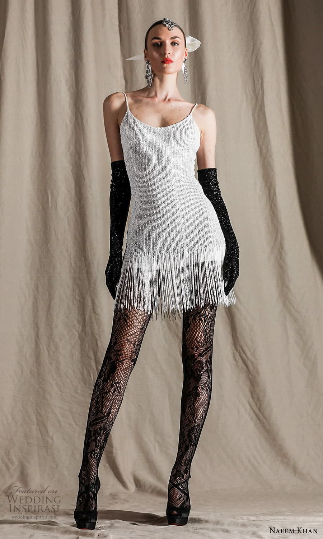 naeem khan spring 2022 bridal sleeveless straps scoop neckline embellished short wedding dress (17) mv