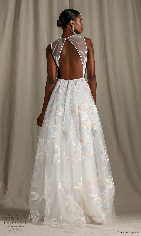 naeem khan spring 2022 bridal sleeveless straps sheer jewel neck sweetheart neckline embellished bodice a line ball gown wedding dress chapel train (7) bv