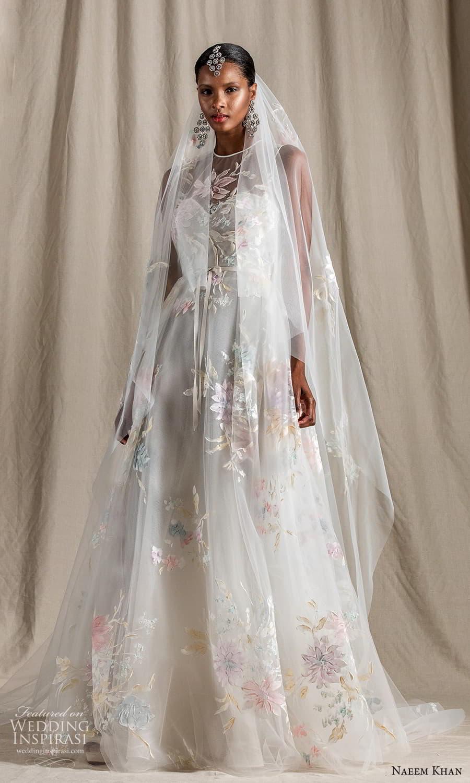 naeem khan spring 2022 bridal sleeveless straps sheer jewel neck sweetheart neckline embellished bodice a line ball gown wedding dress chapel train (7) mv