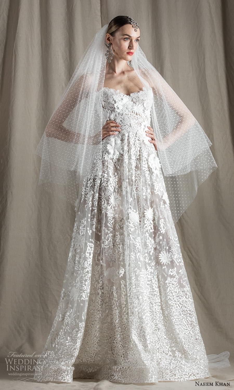 naeem khan spring 2022 bridal strapless sweetheart neckline fully embellished a line ball gown wedding dress chapel train (14) mv