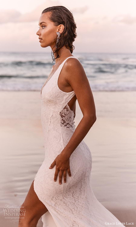 grace loves lace 2021 capsule bridal sleeveless straps v neckline fully embellished lace sheath wedding dress chapel train (1) zsv