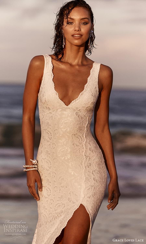 grace loves lace 2021 capsule bridal sleeveless straps v neckline fully embellished lace sheath wedding dress chapel train (1) zv