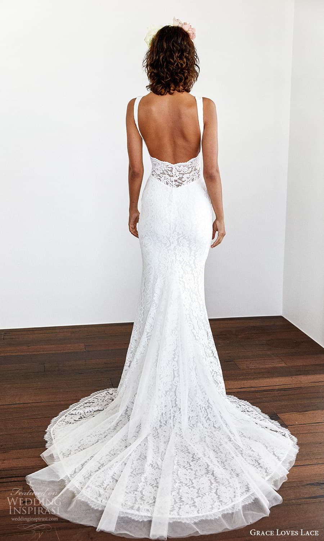 grace loves lace 2021 capsule bridal sleeveless straps v neckline fully embellished lace sheath wedding dress chapel train (2) bv