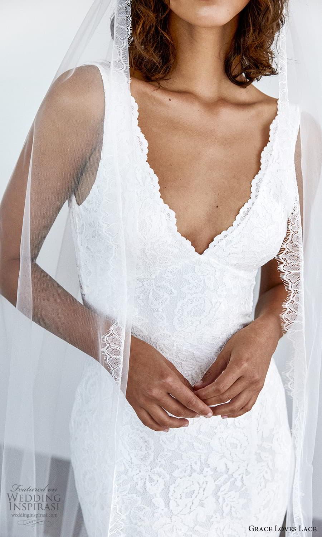grace loves lace 2021 capsule bridal sleeveless straps v neckline fully embellished lace sheath wedding dress chapel train (2) zv