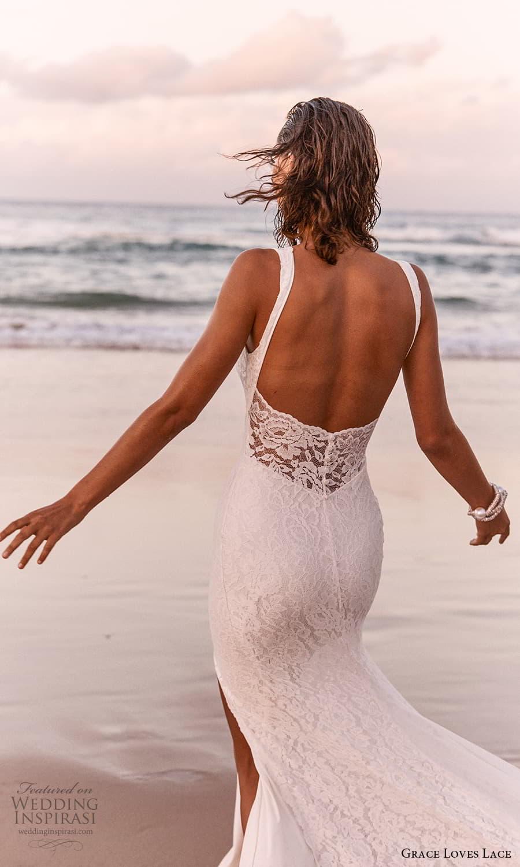 grace loves lace 2021 capsule bridal sleeveless straps v neckline fully embellished lace sheath wedding dress chapel train scoop back (1) zbv