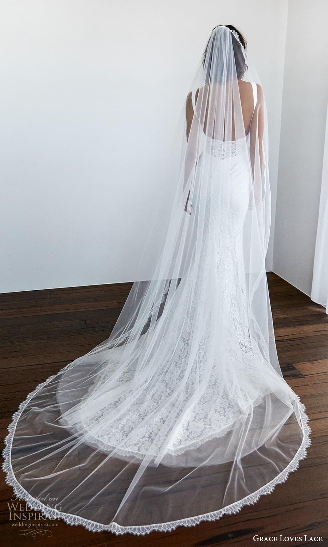 grace loves lace 2021 capsule bridal sleeveless straps v neckline fully embellished lace sheath wedding dress chapel train veil (2) bv