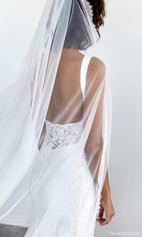grace loves lace 2021 capsule bridal sleeveless straps v neckline fully embellished lace sheath wedding dress chapel train veil (2) zbv